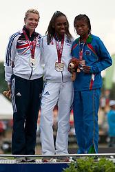 WOODWARD Bethany, FRANCOIS-ELIE Mandy, BENSON Johanna, GBR, FRA, NAM, 200m, T37, Podium, 2013 IPC Athletics World Championships, Lyon, France