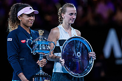 January 26, 2019 - Melbourne, VIC, U.S. - MELBOURNE, VIC - JANUARY 26: NAOMI OSAKA (JPN) and PETRA KVITOVA (CZE) during day thirteen match of the 2019 Australian Open on January 26, 2019 at Melbourne Park Tennis Centre Melbourne, Australia (Photo by Chaz Niell/Icon Sportswire (Credit Image: © Chaz Niell/Icon SMI via ZUMA Press)