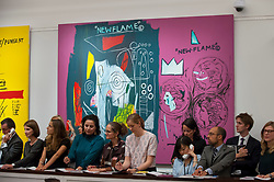 """© Licensed to London News Pictures. 28/06/2017. London, UK. """"New Flame"""", 1985, a collaborative work by Andy Warhol and Jean-Michael Basquiat sold for a hammer price of GBP2m (estimate GBP1.7-2.2m) at Sotheby's Contemporary Art evening sale in New Bond Street, which featured pioneering works from the Pop Art genre. Photo credit : Stephen Chung/LNP"""