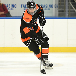 BUFFALO, NY - SEP 20,  2017: Ontario Junior Hockey League Governors Showcase game between the Orangeville Flyers and the Aurora Tigers, Rocco Andreacchi #13 of the Orangeville Flyers skates with the puck during the third period.<br /> (Photo by Andy Corneau / OJHL Images)
