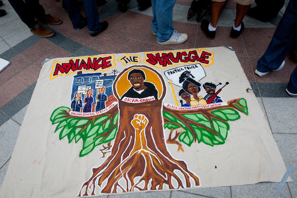 Hundreds protests in Oakland, CA. after the sentencing former Bay Area Rapid Transit police officer Johannes Mehserle who is convicted of involuntary manslaughter for the fatal shooting of Oscar Grant at a BART station on Jan. 1, 2009. Los Angeles Superior Court Judge Robert Perry sentenced Mehserle  to two years in prison.