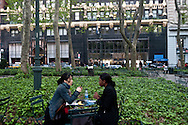 New York. Briant park on 42nd street. people reading, playing chess, game. bar terrace  New York - United states /  Bryant park sur la 42 me rue, lecture , jeu d'echec, repos, pelouse, terrasse,  New York - Etats-unis