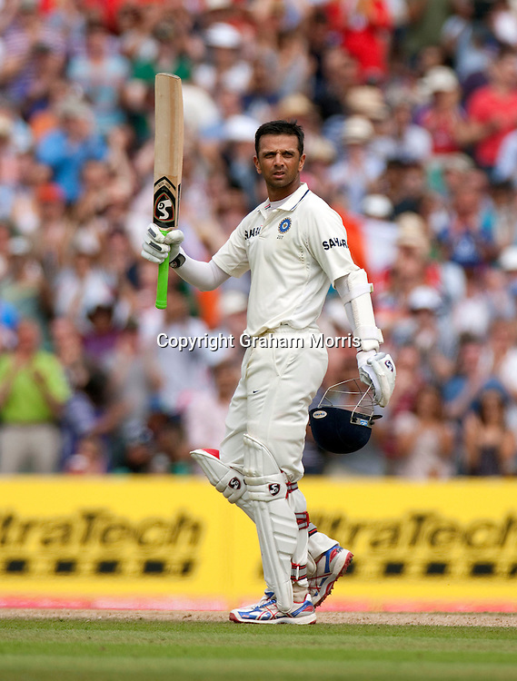 Rahul Dravid celebrates his century during the fourth and final npower Test Match between England and India at the Oval, London.  Photo: Graham Morris (Tel: +44(0)20 8969 4192 Email: sales@cricketpix.com) 21/08/11