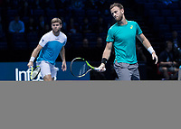Tennis - 2017 Nitto ATP Finals at The O2 - Day One<br /> <br /> Mens Doubles: Group Eltingh/Haarhus: Henri Kontinen (Finland) & John Peers (Australia) Vs Ryan Harrison (United States) & Michael Venus (Australia)<br /> <br /> Ryan Harrison (United States) and Micheal Venus (New Zealand) look on as the ball passed then by <br /> <br /> COLORSPORT/DANIEL BEARHAM