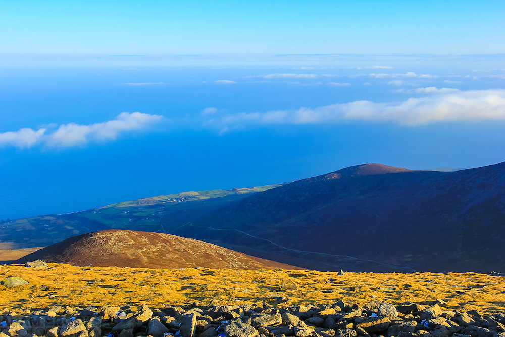 View from the summit of Slieve Donard looking down the Spences River Valley towards Glasdrumman and the Irish Sea.