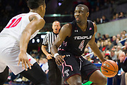 DALLAS, TX - JANUARY 04:  Daniel Dingle #4 of the Temple Owls drives to the basket against Jarrey Foster #10 of the SMU Mustangs during a basketball game on January 4, 2017 at Moody Coliseum in Dallas, Texas.  (Photo by Cooper Neill/Getty Images) *** Local Caption *** Daniel Dingle; Jarrey Foster