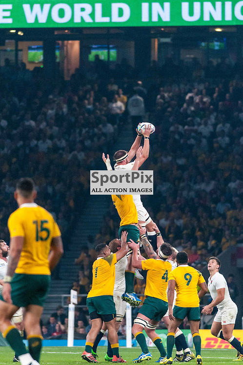 England win a lineout. Action from the England v Australia game in Pool A of the 2015 Rugby World Cup at Twickenham in London, 3 October 2015. (c) Paul J Roberts / Sportpix.org.uk