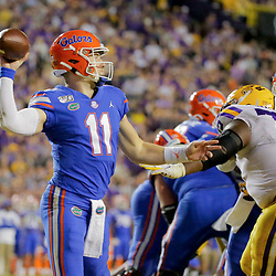 Oct 12, 2019; Baton Rouge, LA, USA; Florida Gators quarterback Kyle Trask (11) throws against the LSU Tigers during the second half at Tiger Stadium. Mandatory Credit: Derick E. Hingle-USA TODAY Sports