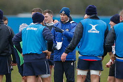 Bristol First Team Coach Sean Holley gives out instructions in a huddle during training - Photo mandatory by-line: Rogan Thomson/JMP - 07966 386802 - 13/02/2015 - SPORT - RUGBY UNION - Bristol, England - Bristol Rugby Club Training Ground, Station Road, Henbury - Training Session.