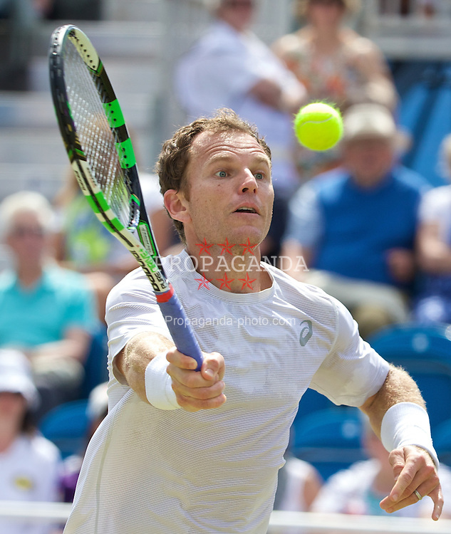 LIVERPOOL, ENGLAND - Saturday, June 21, 2014: Michael Russell (USA) during Day Three of the Liverpool Hope University International Tennis Tournament at Liverpool Cricket Club. (Pic by David Rawcliffe/Propaganda)