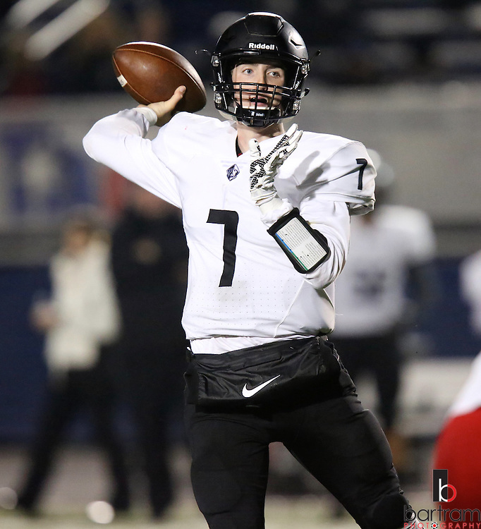Bishop Lynch quarterback Jagger Laroe throws during the TAPPS Division I state championship game on Saturday, Dec. 3, 2016 at Panther Stadium in Hewitt, Texas. Bishop Lynch High School won 21-17. (Photo by Kevin Bartram)