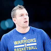 11 April 2014: Golden State Warriors forward David Lee (10) warms up prior to the Golden State Warriors 112-95 victory over the Los Angeles Lakers at the Staples Center, Los Angeles, California, USA.