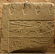 Fragments of relief; hunting scene with ostriches and ibexes Middle Kingdom, 12 dynasty 1940-1760 BC