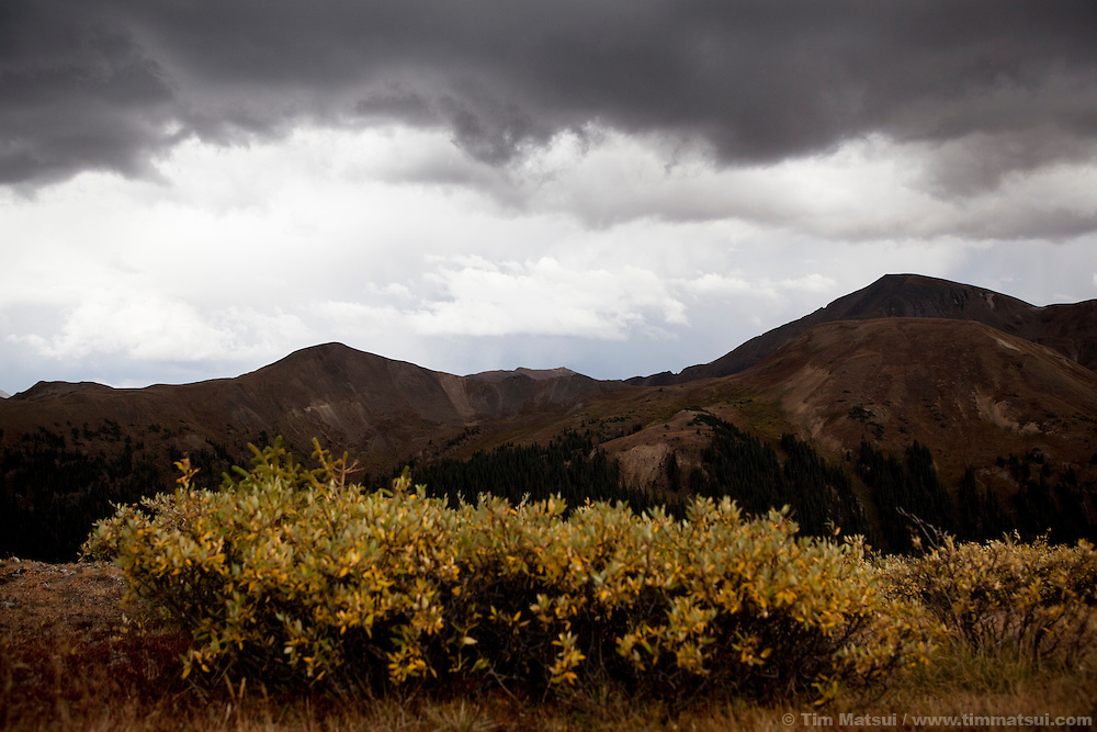 Stormy skies over Independence Pass on the Continental Divide in Colorado.