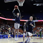 Breanna Stewart, (left), and Katie Lou Samuelson, UConn,  warming up before the UConn Huskies Vs USF Bulls 2016 American Athletic Conference Championships Final. Mohegan Sun Arena, Uncasville, Connecticut, USA. 7th March 2016. Photo Tim Clayton