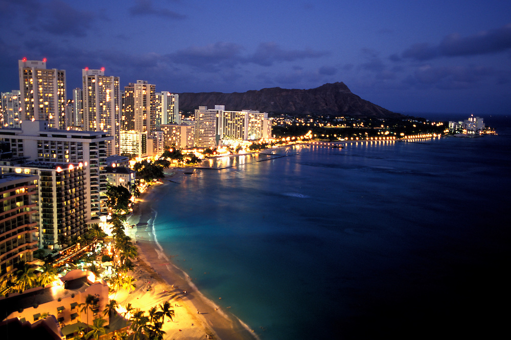 Waikiki Beach and Diamond Head at night.Oahu, Hawaii