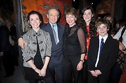 DAN TOPOLSKI and his wife SUSAN GILMOUR with their children, Left to right, TAMSIN, LUKE and EMMA at a party to celebrate the opening of Topolski Century held at The Arches, Hungerford Bridge, London SE1 on 16th March 2009.