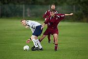 Dundee Saturday Morning Football at Riverside, Dundee: Dryburgh (claret and light blue) v Occidental (white)<br /> <br />  - Picture by David Young