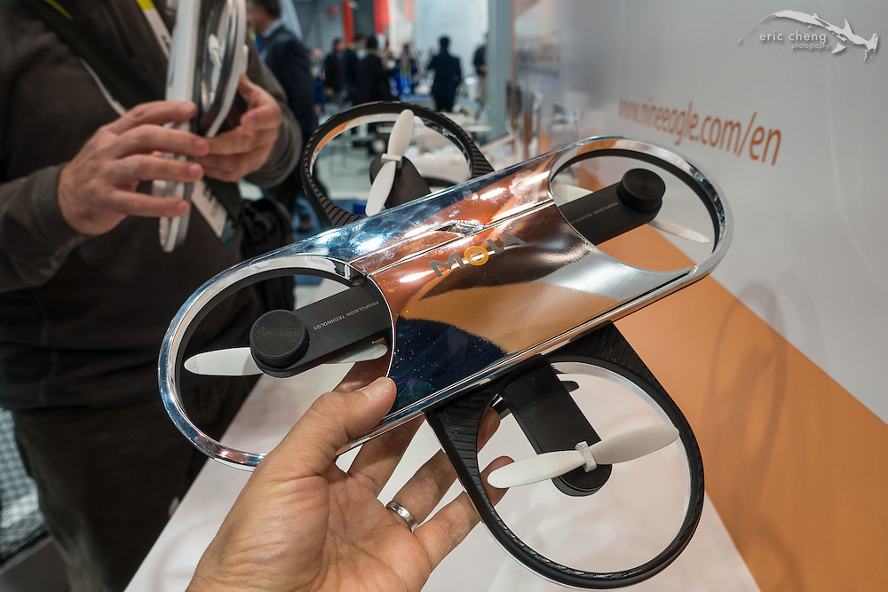Mola prototype collapsible quadcopter. CES 2016, Las Vegas.