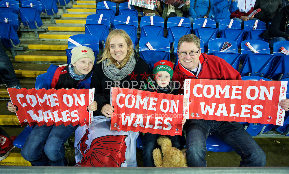 CARDIFF, WALES - Friday, November 13, 2015: Wales supporters before the International Friendly match against the Netherlands at the Cardiff City Stadium. (Pic by David Rawcliffe/Propaganda)