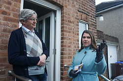 © Licensed to London News Pictures. 9/12/2019. Sheffield , UK. Jo Swinson leader of the Liberal Democrat poses for a selfie with Liberal Democrat candidates for Sheffield Central Colin Ross (L) and Penitsone and Stocksbridge Hannah Kitching (2L) and volunteers while out canvassing for the general election in Sheffield, in Sheffield . Britain will go to the polls on December 12, 2019 to vote in a pre-Christmas general election. Photo credit: Ioannis Alexopoulos /LNP