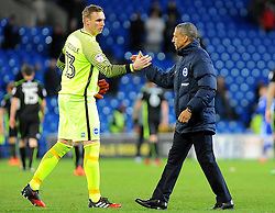 Brighton & Hove Albion manager Chris Hughton praises David Stockdale of Brighton & Hove Albion after the final whistle - Mandatory by-line: Nizaam Jones/JMP - 03/12/2016 -  FOOTBALL - Cardiff City Stadium - Cardiff, Wales -  Cardiff City v Brighton and Hove Albion - Sky Bet Championship