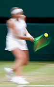 epa06081392 Jelena Ostapenko of Latvia in action against Venus Williams of the USA during their quarter final match for the Wimbledon Championships at the All England Lawn Tennis Club, in London, Britain, 11 July 2017.  EPA/NIC BOTHMA EDITORIAL USE ONLY/NO COMMERCIAL SALES