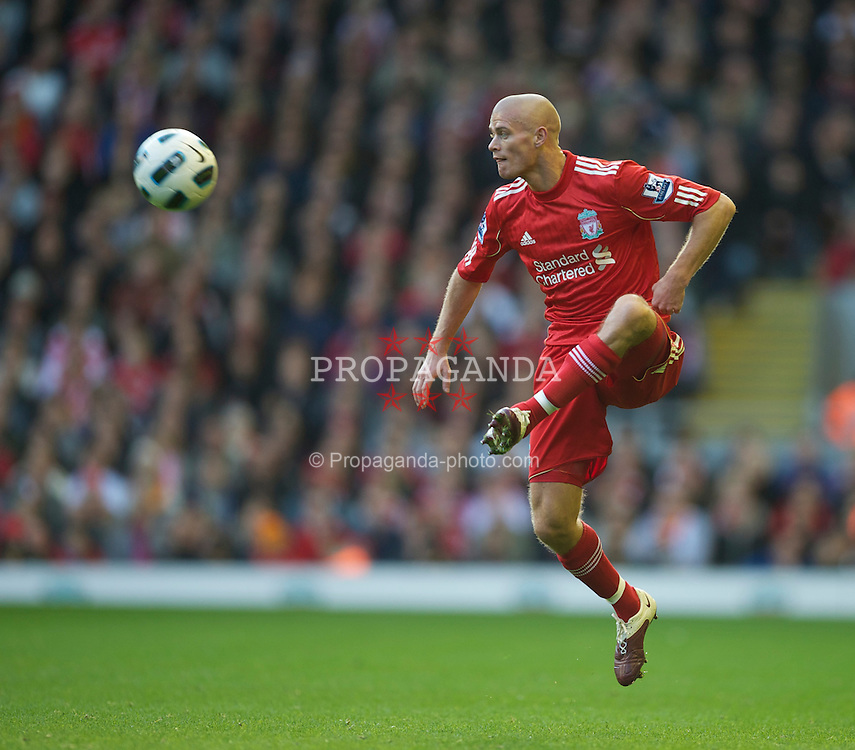 LIVERPOOL, ENGLAND - Sunday, October 24, 2010: Liverpool's Paul Konchesky in action against Blackburn Rovers during the Premiership match at Anfield. (Photo by David Rawcliffe/Propaganda)
