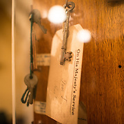 at the Churchill War Rooms in London. The museum, one of five branches of the Imerial War Museums, preserves the World War II underground command bunker used by British Prime Minister Winston Churchill. Its cramped quarters were constructed from a converting a storage basement in the Treasury Building in Whitehall, London. Being underground, and under an unusually sturdy building, the Cabinet War Rooms were afforded some protection from the bombs falling above during the Blitz.