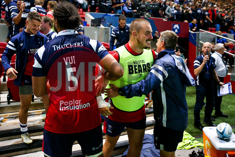 Ollie Dawe and the bench celebrate after Bristol Bears win the game 17-10 - Rogan/JMP - 31/08/2018 - RUGBY UNION - Ashton Gate Stadium - Bristol, England - Bristol Bears v Bath Rugby - Gallagher Premiership Rugby.