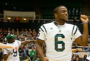 Ohio University tailback Joshua Abrams gets out and dances some teammates and performs with the Ohio Dance Team during the Yell Like Hell pep rally in the Convocation Center on Friday, October 12, 2007..Photo by Kevin Riddell