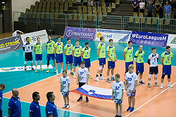 Players of Slovenia during volleyball match between national teams of Slovenia and Turkey of 2018 CEV volleyball Godlen European League, on May 27, 2018 in Sports hall Tabor, Maribor, Slovenia. Photo by Urban Urbanc / Sportida