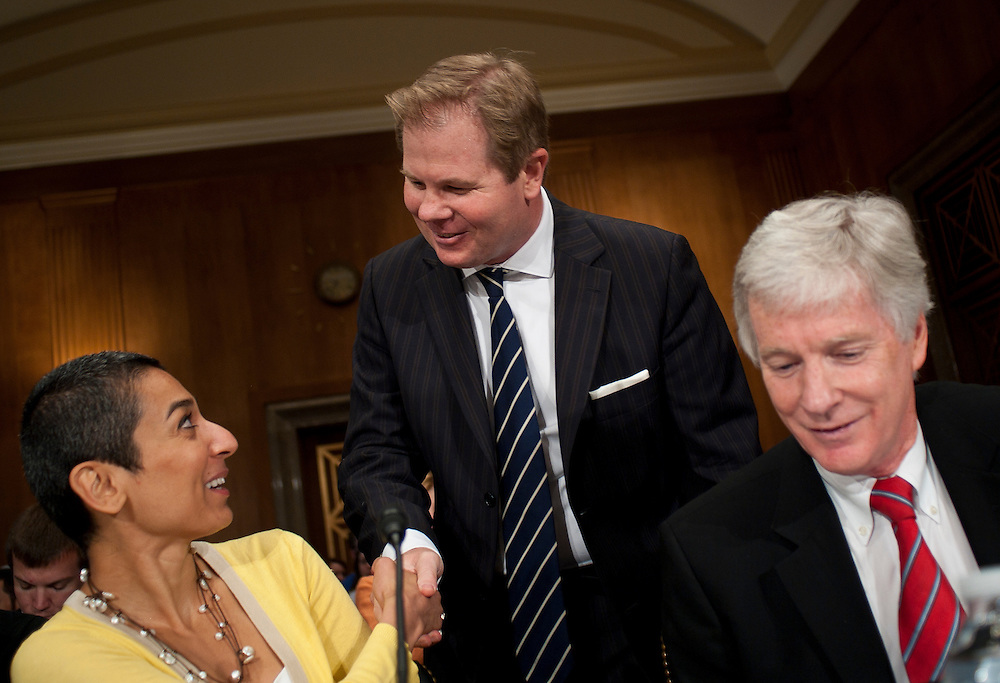 "Jul 27, 2010 - Washington, District of Columbia, U.S., -.Dr. DAVID KILCULLEN, Non-Resident Senior Fellow and former Senior Fellow at the Center for a New American Security, greets ZAINAB SALBI, founder and CEO of Women for Women International  and RYAN CROCKER, dean and executive professor at Texas A&M University's George Bush School of Government and Public Service, before a Senate Foreign Relations Committee hearing on the ""Perspectives on Reconciliation Options in Afghanistan.""(Credit Image: © Pete Marovich/ZUMA Press)"