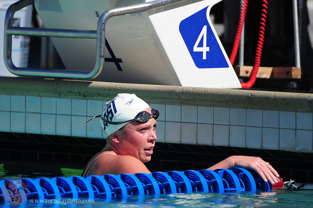 May 31, 2012; Santa Clara, CA, USA; Emily Brunemann (USA) rests after competing during the women's 1500-meter freestyle in the Santa Clara international grand prix at the George F. Haines International Swim Center.