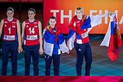 20-10-2018 JPN: Ceremony World Championship Volleyball Women day 21, Yokohama<br /> Bianka Busa #1 of Serbia, Maja Aleksic #14 of Serbia, Teodora Pusic #12 of Serbia, Brankica Mihajlovic #9 of Serbia