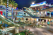 Santa Monica Place, Santa Monica CA, modern, open-air shopping Mall, Bloomingdale's, Nordstrom, contemporary mix of stores, restaurants, , Night, Dusk, Twilight, Beautiful, outdoor, shopping mall