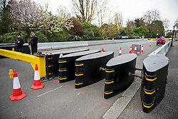 © London News Pictures. 22/04/2016. London, UK. Security barriers blocking the entrance to part of Regents Park. . Heightened security surrounding the residence of the US Ambassador to the United Kingdom in Regents Park, London, where the President of the United States Barak Obama is staying during his visit to the UK. Photo credit: Ben Cawthra/LNP