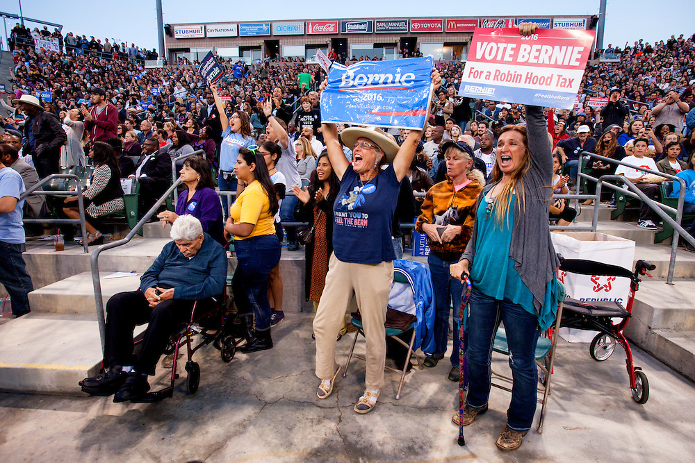 The inclusive message of Bernie Sanders created a fanaticism amongst many that had never before participated in the political process. May 17, 2016. Carson, Calif. (Photo by Gabriel Romero ©2016)