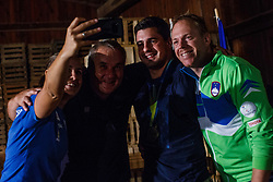 Jana Cander, Boro Strumbelj, Darko Duric and Grega Nahtigal during reception of Slovenian paralympic swimmer Darko Duric after getting gold and bronze medal at swimming European Championship, Podbrezje, 22th of August, Slovenia Photo by Grega Valancic / Sportida