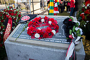 The wreath on the memorial stone during the ceremony at Manchesterplatz, Munich, Germany. Picture by Phil Duncan.