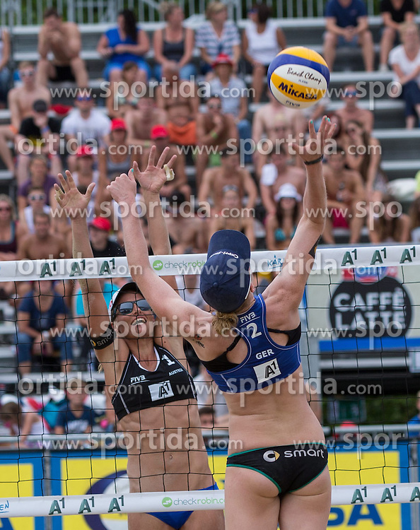 30.07.2014, Strandbad, Klagenfurt, AUT, A1 Beachvolleyball Grand Slam 2014, im Bild Julia SUDE 2 GER, Bianca Zass 2 AUT// during the A1 Beachvolleyball Grand Slam at the Strandbad Klagenfurt, Austria on 2014/07/30. EXPA Pictures © 2014, EXPA Pictures © 2014, PhotoCredit: EXPA/ Mag. Gert Steinthaler