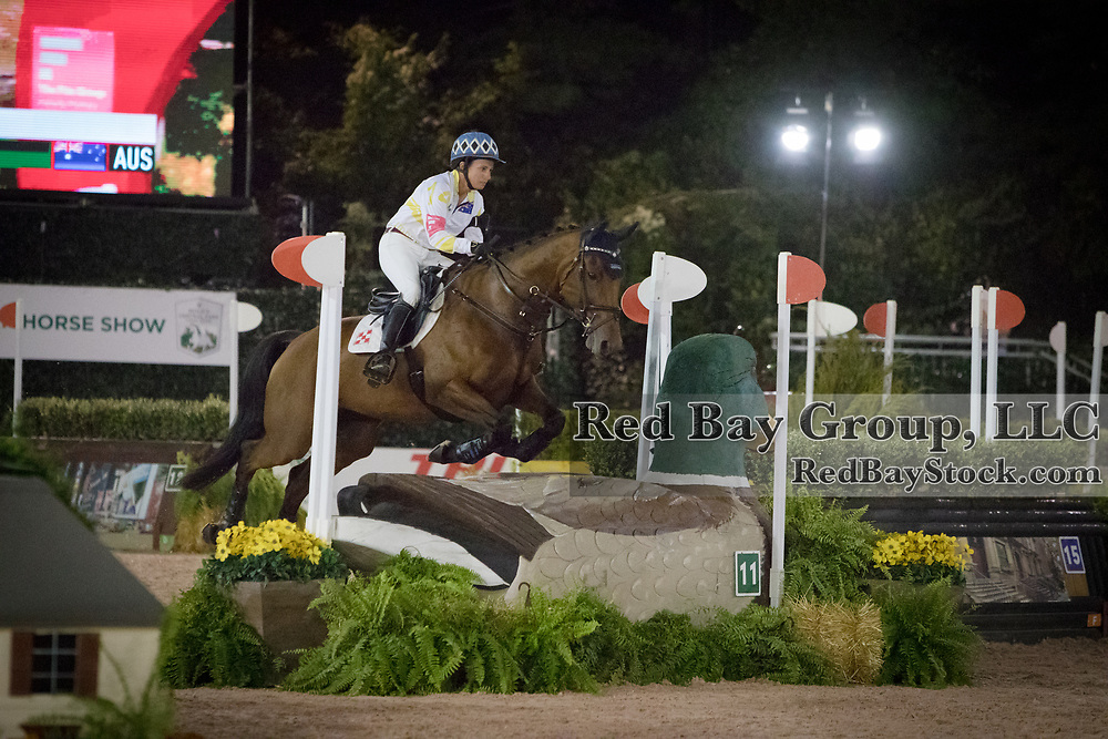 Kate Chadderton riding Wailea competes in the inaugural U.S. Open $50,000 Arena Eventing competition, presented by The Fite Group Luxury Homes, at the Rolex Central Park Horse Show, where Land Rover was the official vehicle sponsor on September 23, 2017 in New York City.