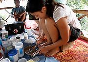 Volunteer in remote hill tribe village, Thailand