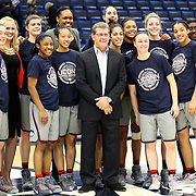 HARTFORD, CONNECTICUT- JANUARY 10: Head coach Geno Auriemma of the Connecticut Huskies with his team after their ninetieth consecutive win during the the UConn Huskies Vs USF Bulls, NCAA Women's Basketball game on January 10th, 2017 at the XL Center, Hartford, Connecticut. (Photo by Tim Clayton/Corbis via Getty Images)
