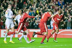 18.03.2010, Anfield, Liverpool, ENG, UEFA EL, Liverpool FC vs OSC Lille im Bild Liverpool's captain Steven Gerrard MBE feiert das 1 zu 0, EXPA Pictures © 2010, PhotoCredit: EXPA/ Propaganda/ D. Rawcliffe