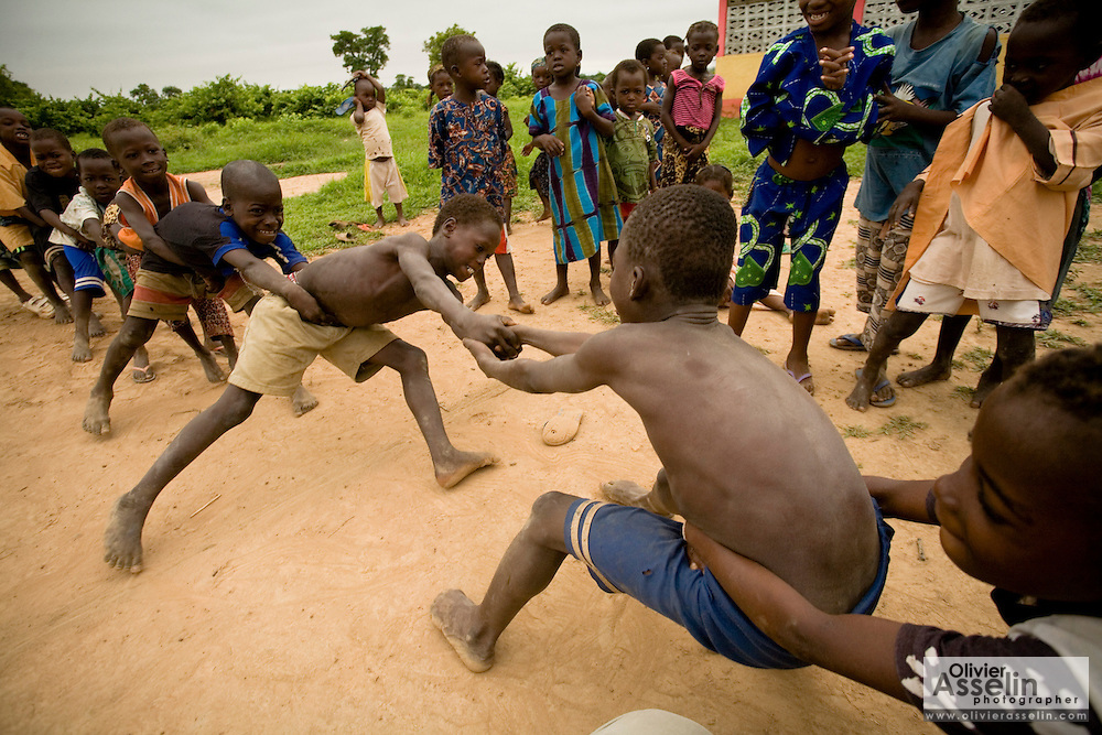Children at play outside the Kotonli kindergarten in the village of Kotonli, northern Ghana, on Thursday June 7, 2007.