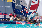 The Great Sound, Bermuda, 20th June 2017, Red Bull Youth America's Cup Finals. Race two, Land Rover BAR Academy and NZL Sailing Team.