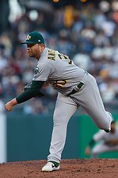 SAN FRANCISCO, CA - AUGUST 13: Brett Anderson #30 of the Oakland Athletics pitches against the San Francisco Giants during the first inning at Oracle Park on August 13, 2019 in San Francisco, California.  (Photo by Jason O. Watson/Getty Images) *** Local Caption *** Brett Anderson