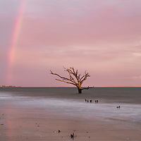 Sunset rainbow at Boneyard Beach, Botany Bay, Edisto Island, SC