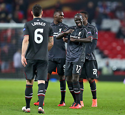 MANCHESTER, ENGLAND - Wednesday, March 16, 2016: Liverpool's Mamadou Sakho celebrates after knocking out Manchester United 3-1 on aggregate (1-1 on the night) during the UEFA Europa League Round of 16 2nd Leg match at Old Trafford. (Pic by David Rawcliffe/Propaganda)